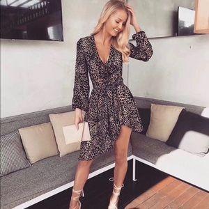 Leopard drape asymmetrical dress size S